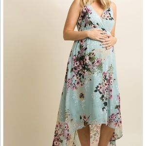 New PinkBlush Maternity Floral High-Low wrap dress